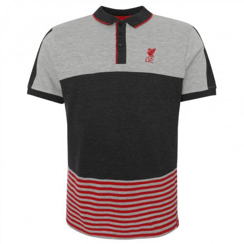 Liverpool F.C. Block Polo Shirt Mens Grey